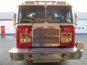Bourne, MA Fire Department - Stainless Steel Side Mount Rescue Pumper - Front view